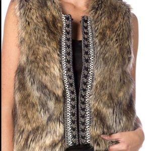 EUC Brown Faux Fur Vest Cable Knit Sweater